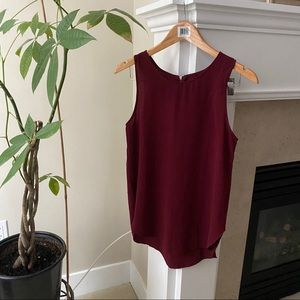 SEDUCTIONS Burgundy Zip Back Sleeveless Blouse